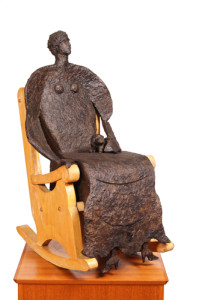 LADY WITH PUP bronze, 34″ x 11″ x 10″