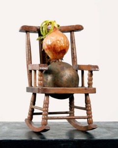 OLD ONIONS ON ROCKERS bronze and found objects life size