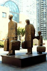 Holocaust memorial polystyrene, fiberglass, resin, steel, and bronze patina, 10′ x 11′ x 6'8″