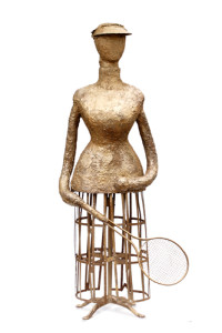 fiberglass, resin, imbedded bronze and found objects 62″ x 28″ x 15″